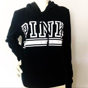 PINK Victoria Secret 1/2 Zip Hoodie Black Sz Med